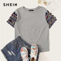 513bdfa379ae003 Шеин народная Стиль серый отделкой бахромой серая футболка Повседневное  футболка Для женщин 2019 летние шорты рукавом