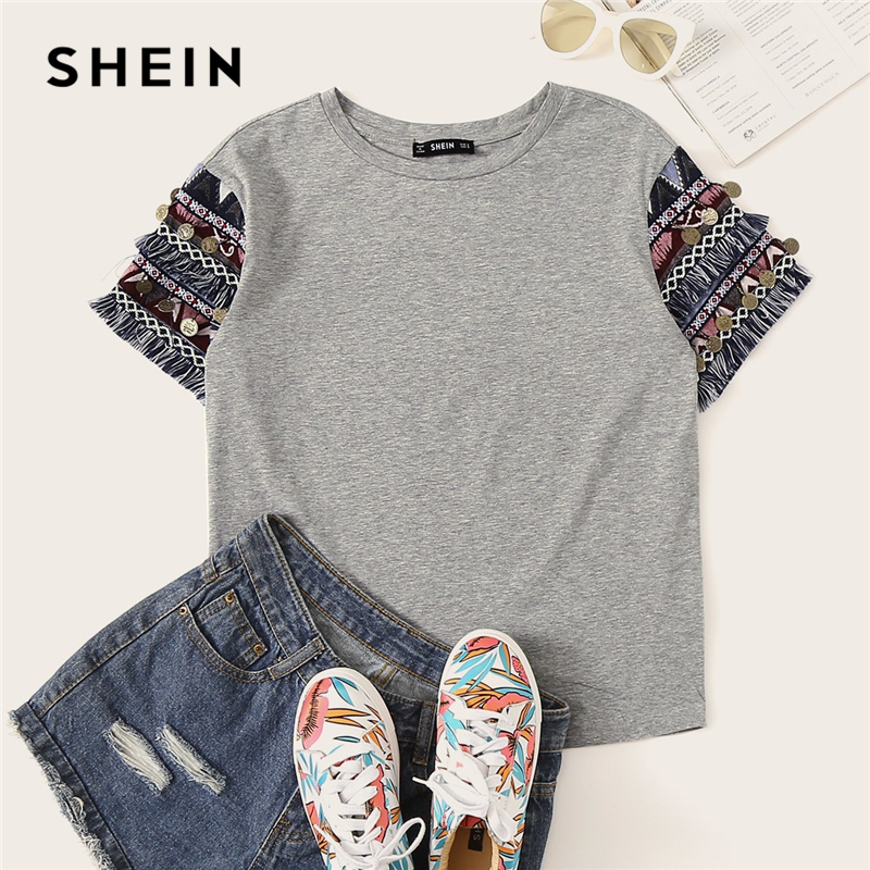 SHEIN Folk Style Grey Fringe Trim Heathered Tee Casual   T     Shirt   Women 2019 Summer Short Sleeve Stretchy Boho Cute Tshirt Tops