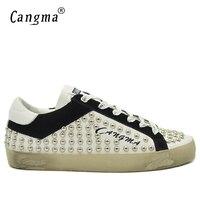 CANGMA Retro Damızlık Rahat Ayakkabılar Erkek Platformu Sneakers Beyaz Ayakkabı Ile Perçinler Hakiki Deri El Yapımı Perçinler Düz Erkek Ayakkabı