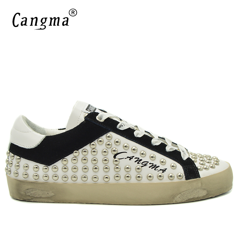 CANGMA Retro Stud Casual Shoes Mens Platform Sneakers White Shoes With Rivets Genuine Leather Handmade Rivets Flat Male Footwear cangma luxury 2017 womens shoes with platform sneakers gold girl flats patent genuine leather shoes breathable footwear female
