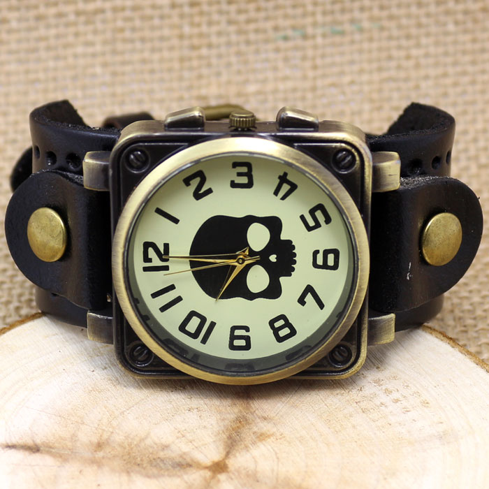 Vintage Black Leather Band Bracelet Quartz Wrist Skull Casual Watch Men Boy Retro stylish bracelet zinc alloy band women s quartz analog wrist watch black 1 x 377