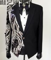Личность Черный Мужские костюмы конструкции masculino Homme TERNO сценические костюмы певцы мужчины блесток Блейзер Танцы одежда в Звездном стиле