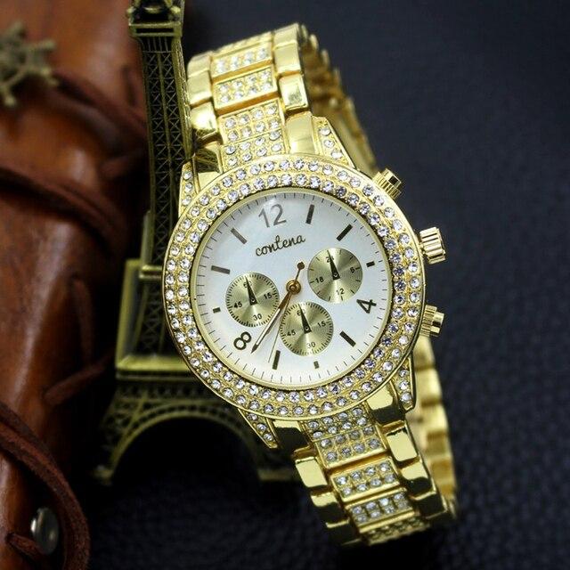 ef03b64d Новый Для женщин золото Часы Кристалл Бриллиантами Дамская мода брендовые  роскошные золотые наручные кварцевые часы женские