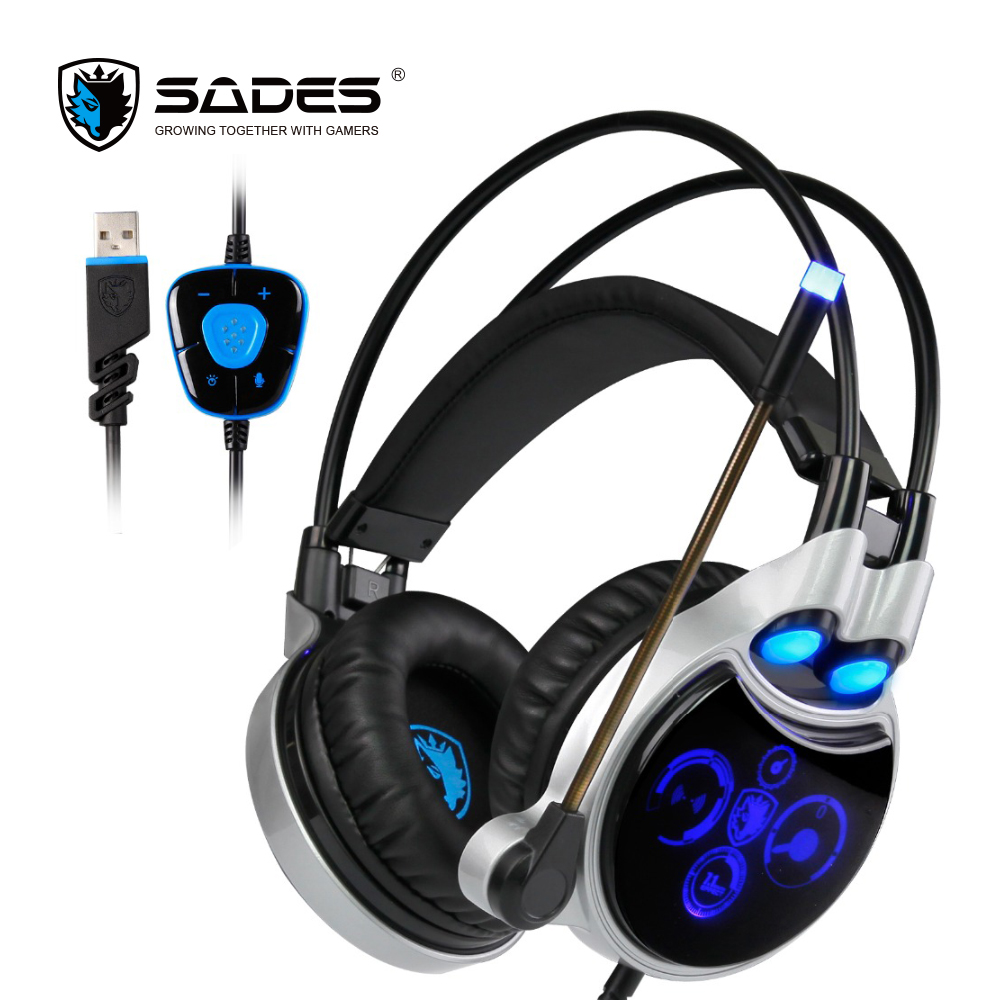 SADES R8 Virtual 7.1 Sound Channel Wired PC Gaming Headset Fashion Over-Ear Headphones with Microphone Breathing Light for Gamer free customs taxes super power 1000w 48v li ion battery pack with 30a bms 48v 15ah lithium battery pack for panasonic cell