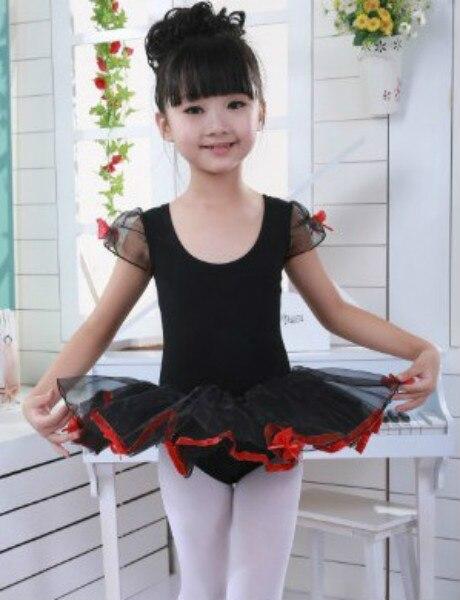 90-155cm Kids Black Ballet Leotard Tutu Dance Dress Children Professional Gymnastics Leotard Dance Wear Toddler Dancing Costumes