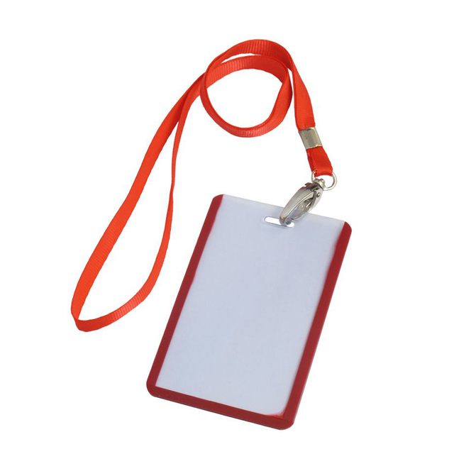 SOSW 2 Pcs School Office Red Lanyard Vertical B8 ID Name Badge Card