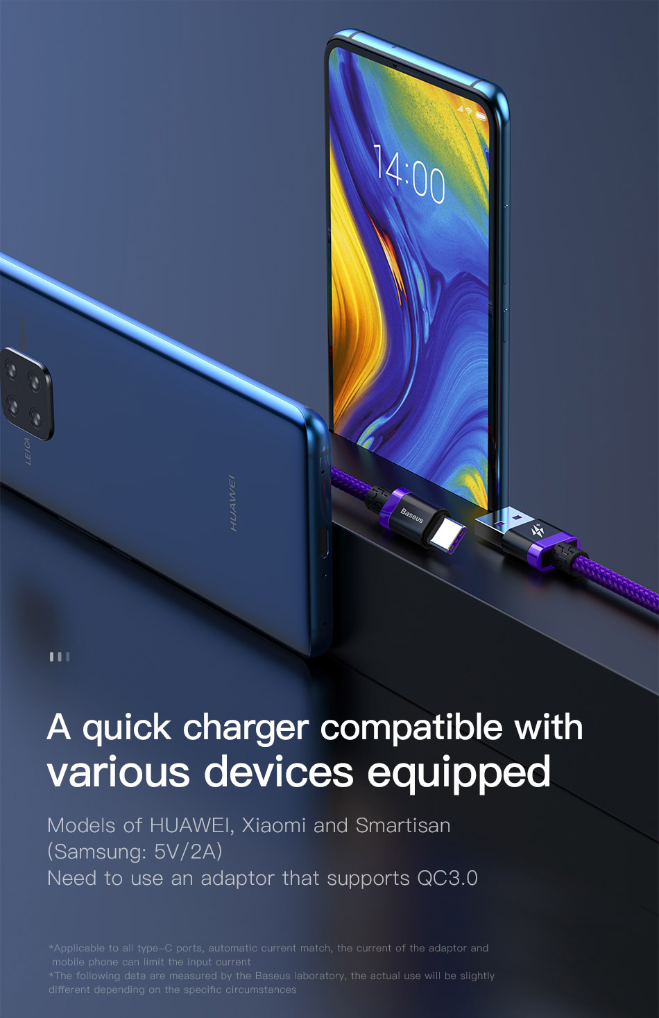 Baseus 5A Falsh Quick Charge USB Type C Cable for Huawei Mate 20 P20 Pro  Xiaomi redmi note 7