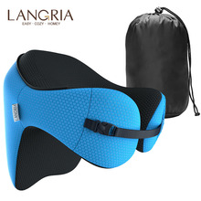 LANGRIA 6-in-1 Long Haul Memory Foam Travel Pillow with Detachable Hood Adjustable Neck for Car Nap Rest Cushion