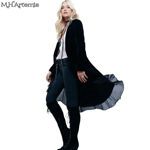 M. H. Артемида Элегантный бархат траншеи двойной шифон патч пальто Мода Костюм длинные пиджаки 2016 Turn down воротник прохладный модный пальто