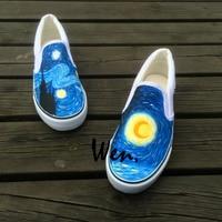 Wen Unisex Hand Painted Slip On Shoes Design Custom Oil Painting Style Moon Tower Men Women