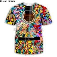 Colorful Guitar art Musical instrument 3D full printing fashion t shirt 3D print hip hop style tshirt streetwear summer style-1