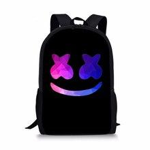 Noisydesigns marshmello мода рюкзак школьные рюкзаки для мальчиков ребенок сумка Mochila Дети back pack infantil школьные ранцы Малый шлем диджея
