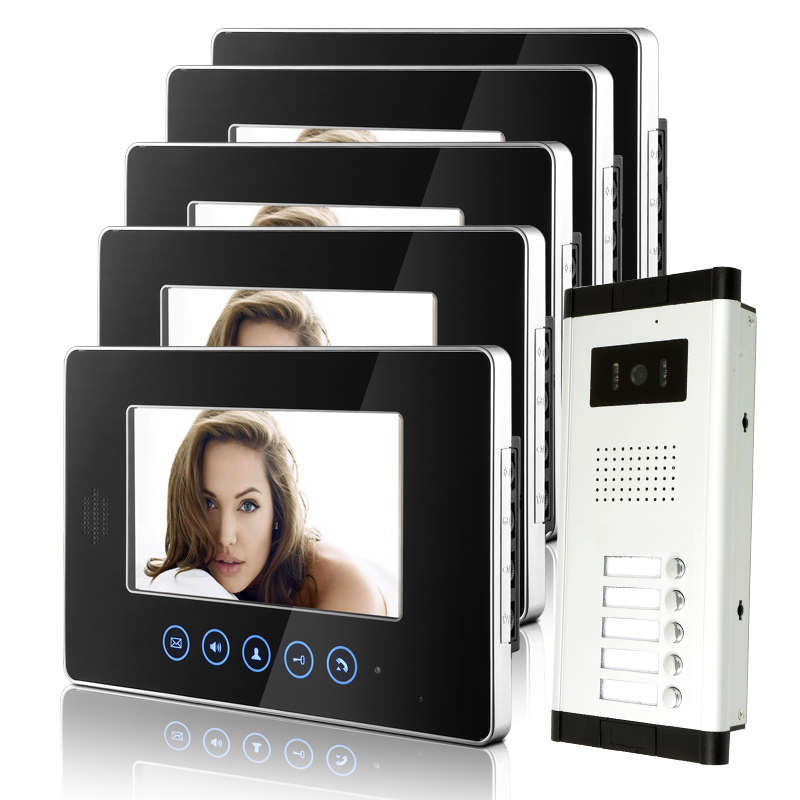 FREE SHIPPING Touchkey 7 Video Intercom Apartment HD Door Phone System 5 Monitor 1 Doorbell Camera 5 Buttons In Stock Wholesale free shipping brand 7 inch video intercom door phone system 2 monitor 1 hd doorbell camera for 2 household apartment wholesale