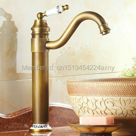 Free shipping 13 Height Antique Brass Porcelain Kitchen Sink Bathroom Basin Brass Faucet Mixer Tap Swivel