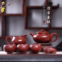 Purple Sand Pot Wholesale Raw Mine Dahongpao Pure Hand made Genuine Seven piece Gift Set Manufacturer of Antique Pot Set