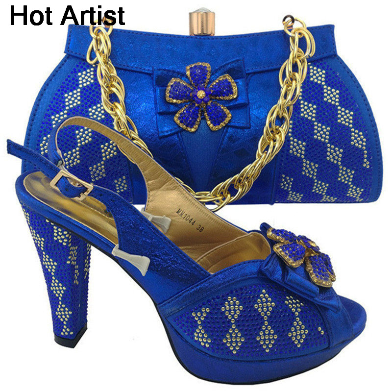 Hot Artist 2017 Africa Style Rhinestone Shoes And Bag Set For Party Fashion Italian Style High Heels Shoes And Bag Set MM1044 capputine new arrival fashion shoes and bag set high quality italian style woman high heels shoes and bags set for wedding party