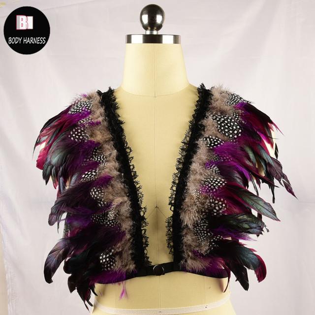 Nuevos Productos de Moda Arnés Jaula Sujetador Feather Abrir Arnés de Pecho Ropa Interior de La Correa de Las Mujeres