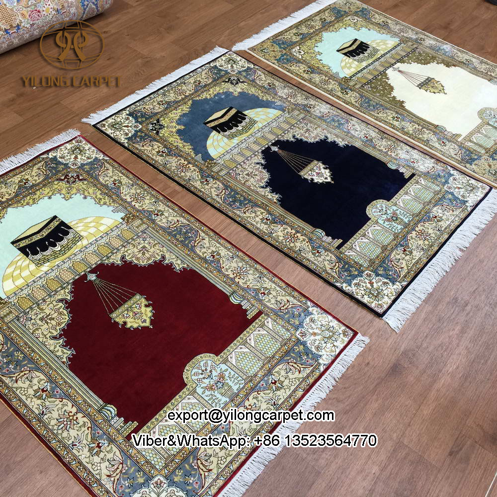 Yilong 2.5'x4' oriental hand knotted silk prayer mat pure silk small muslim prayer rug