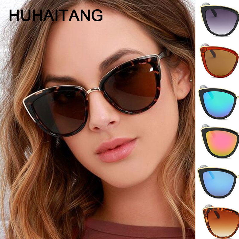 HUHAITANG Brand Vintage Cat Eye Sunglasses Women Luxury Cateye Sun Glasses For Woman Sunglases Ladies Designer High Quality 2019