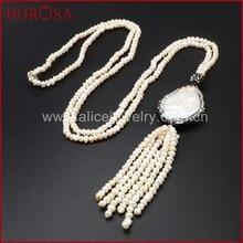 6ae05fee12f3 Borosa natural blanco perla pavimentar ZIRCON con perlas Cuentas borla 26    collar joyería de moda para las mujeres jab385