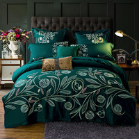4Pcs Green blue gray luxury Egyptian cotton bedding set queen king bed set Chinese embroidery duvet cover bed sheet set pillow