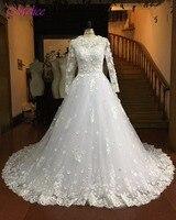 Dreagel Gorgeous Appliques Robe De Mariage Ball Gown Princess Wedding Dress 2017 Elegant Long Sleeves Lace