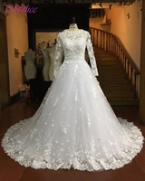 Dreagel Gorgeous Appliques Robe De Mariage Ball Gown Princess Wedding Dress 2017 Elegant Long Sleeves Lace