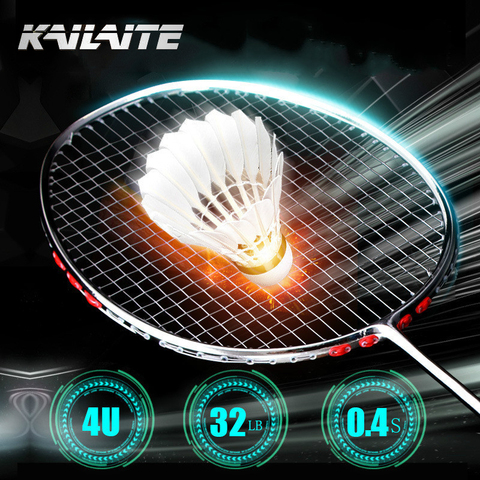 Competição do Esporte Raquete de Badminton de Carbono Kailite Chapeamento Processo Ultra Light 32lbs Badminton Total 4u 82g g2
