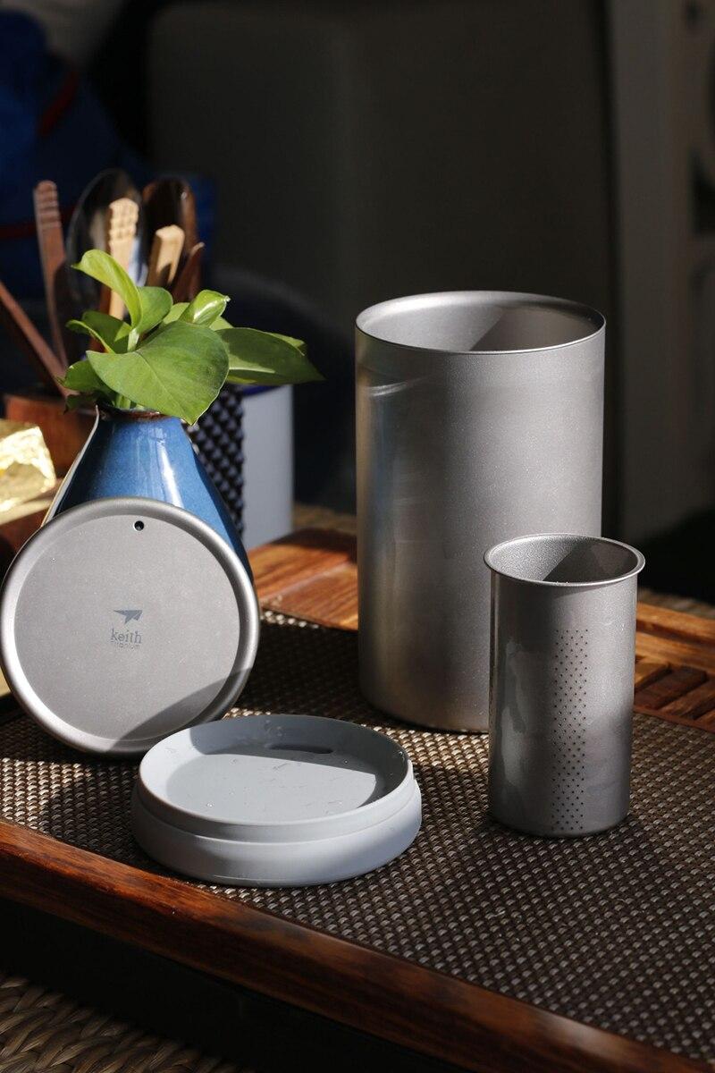 Keith titanium cafeteira dupla murada de titânio