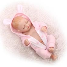 2016 New 27CM mini baby reborn Full Body Silicone Babies with pink jumpsuits boneca Toys for bebe girls gift Brinquedos