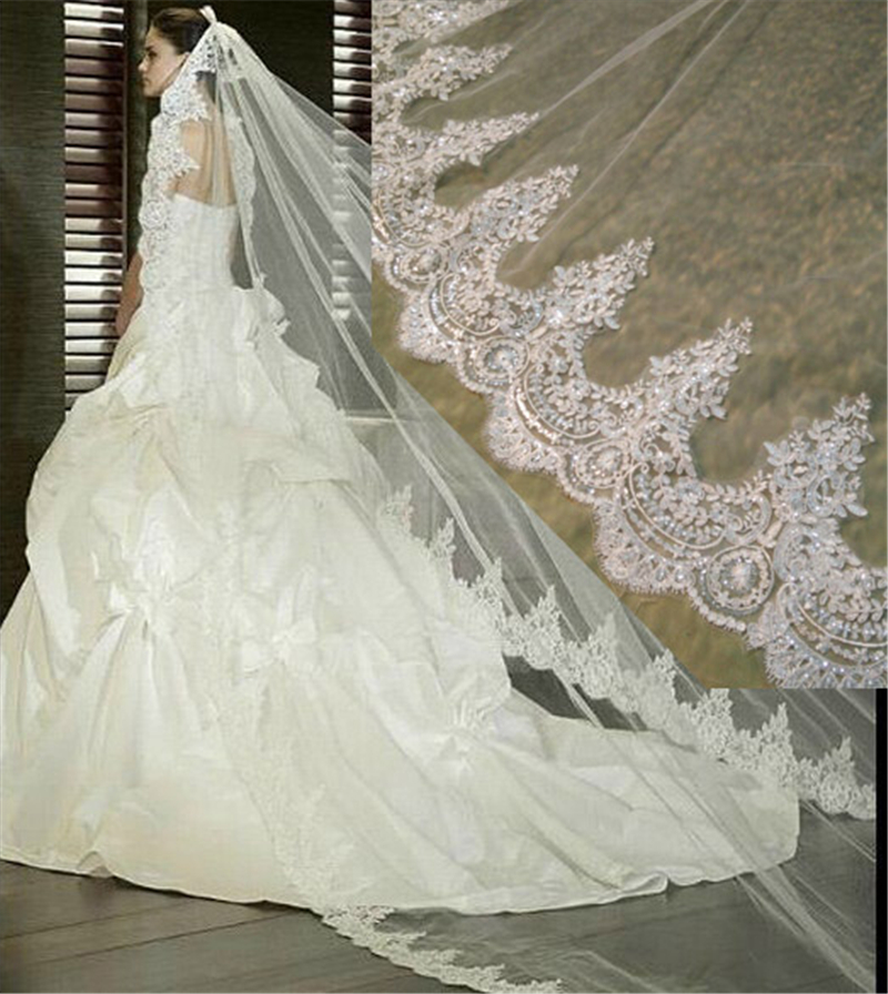 3 Meter White Ivory Cathedral Wedding Veils Long Lace Edge ...