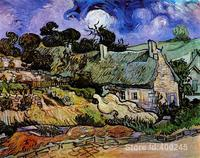 Online Art Gallery Vincent Van Gogh Handmade Oil Paintings Houses With Thatched Roofs Cordeville High Quality