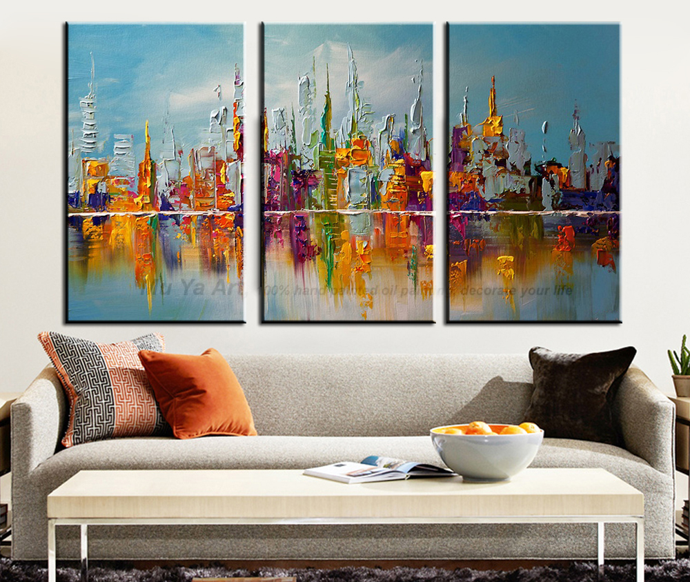 New York City Picture Canvas Painting Modern Wall Art: Aliexpress.com : Buy 3 Panel Wall Art Abstract Handmade