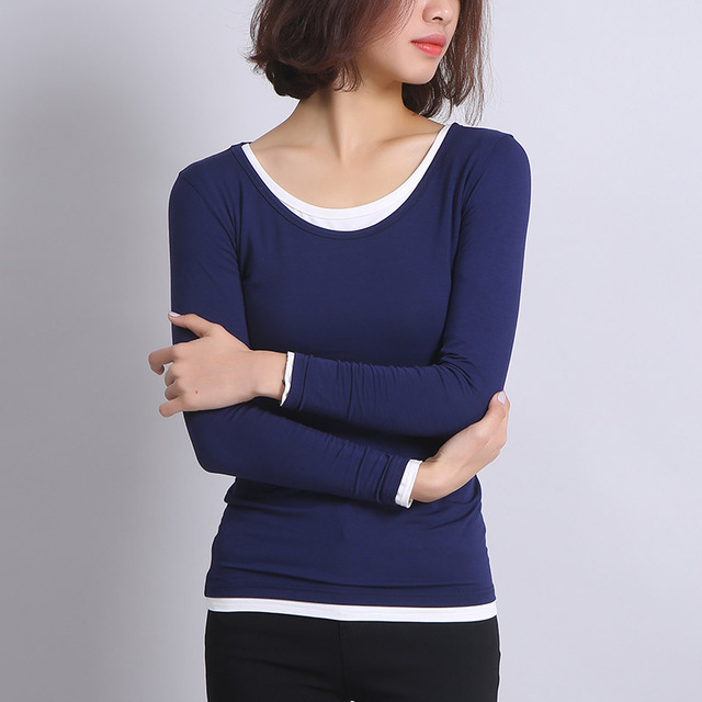 d89c530e5f Yichaoyiliang 2017 Spring Long Sleeve T Shirt Women Ivory American Apparel  Solid Tees Sexy Ladies O neck Tight Tops Ulzzang Tops-in T-Shirts from ...