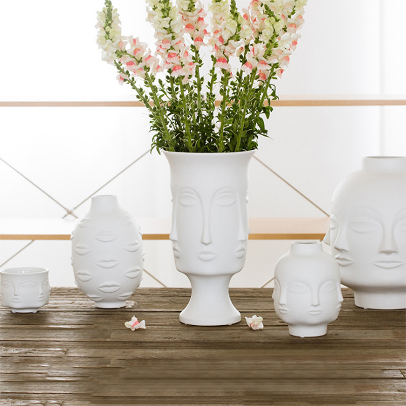 Nordic Creative Home Decoration Face Shape Designs Ceramic Vase Porcelain Decoration Home Corridor Vases For Flowers White Tools