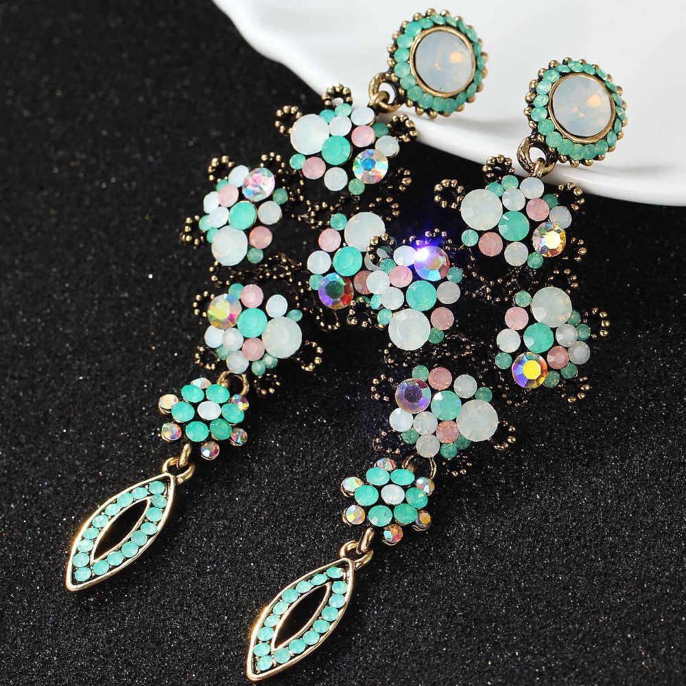 Green White Pink Opalescence Glass Earring Women's Fashion Earrings New arrival brand sweet metal with gems stud for women girls