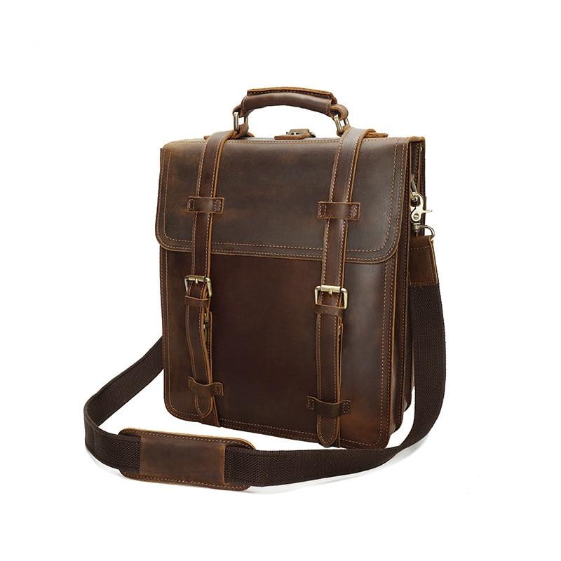 Retro Crazy Horse Leather Men's Backpack Leather Backpack Men's Backpack Leather Backpack Computer Bag цена