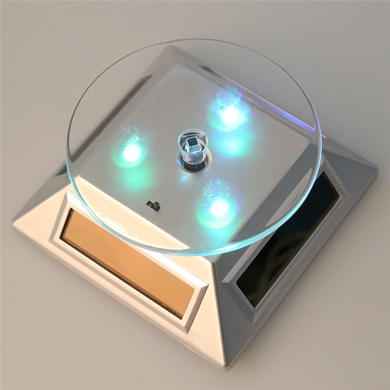 3LED Color Change 360 Degree Solar Showcase Turntable Rotating Watch Jewelry Display Stand Display Case Gold/Silver/White/Black