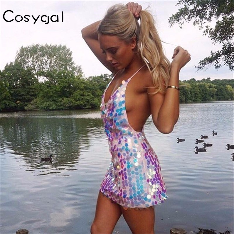 COSYGAL  New Sexy Deep V Neck Sequin Dress Women Summer Backless Slip Dresses Club Party Off Shoulder Camisole Mini Vestido