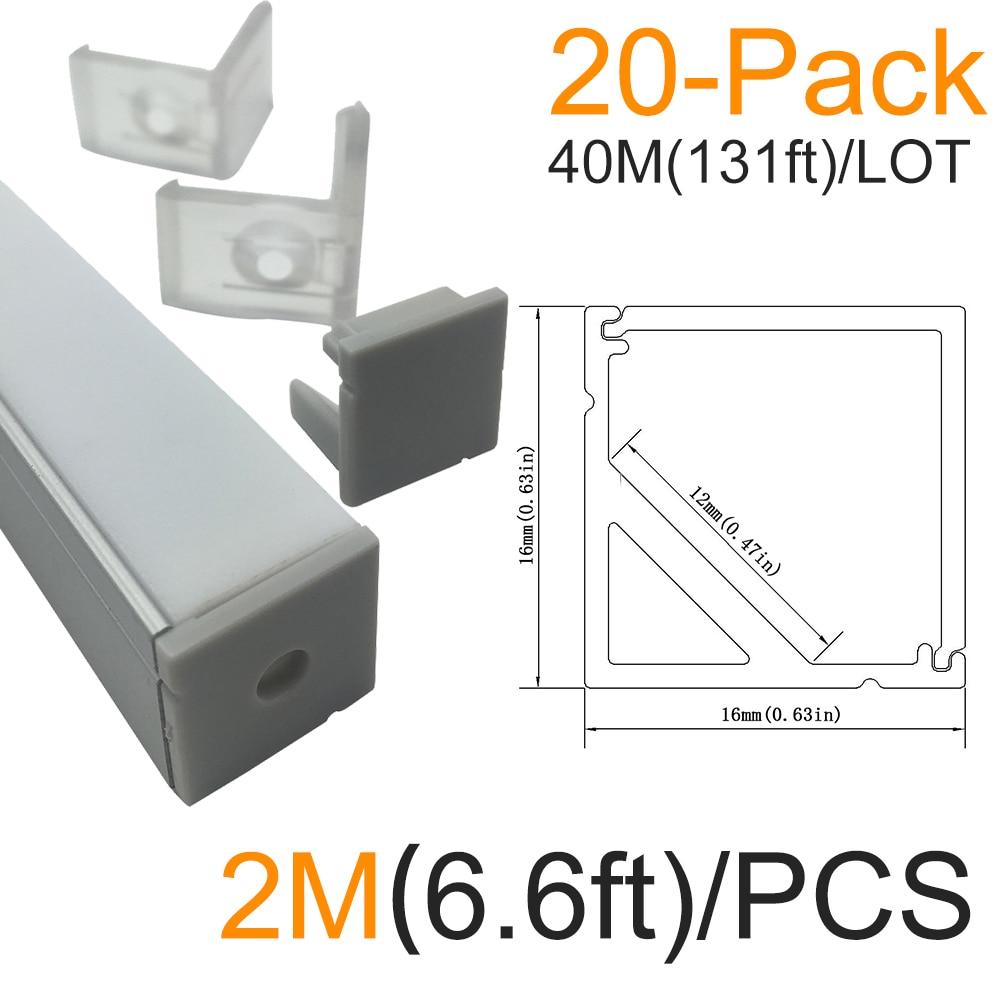 40M / lot 20x2M (6,6ft) Silver Corner Aluminium LED-kanal kit för - LED-belysning
