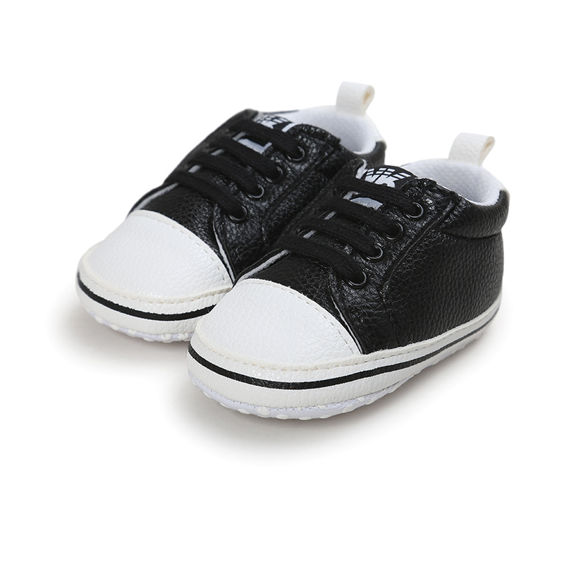 Newborn Boy Girl Toddler Baby Soft Sole lace-up Sneakers Shoes PU Leather Walk