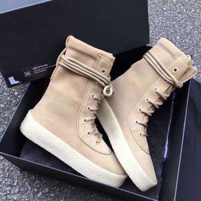 f43387e7b Retro Handmade Kanye West Ankle Boots Thick Heel Platform Men Women Chelsea  Boots Fashion Lace Up Kardashian Lover Casual Boots