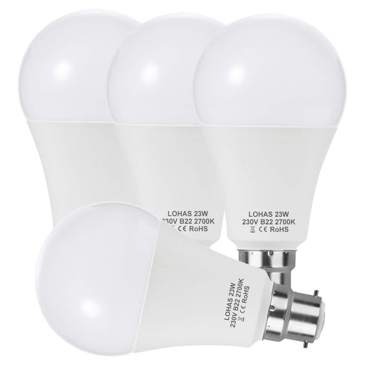 LED A65 B22 Bayonet Bulbs(200W Equivalent)23W LED Lights Warm White 2700K  Super Bright 2500Lm Energy Saving Light Bulbs -4PACK