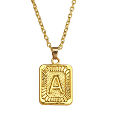 SRCOI Gold Stainless Steel Letter Pendant Necklace Custom Initial Alphabet Choker Necklaces For Women Square Necklaces Bijoux