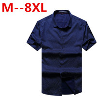 8XL 7XL 6XL 5XL Cotton Men Dot Dress Shirt Short Sleeve Male casual Shirts Slim Fit mens Clothing Polka Dot Camisa Masculina