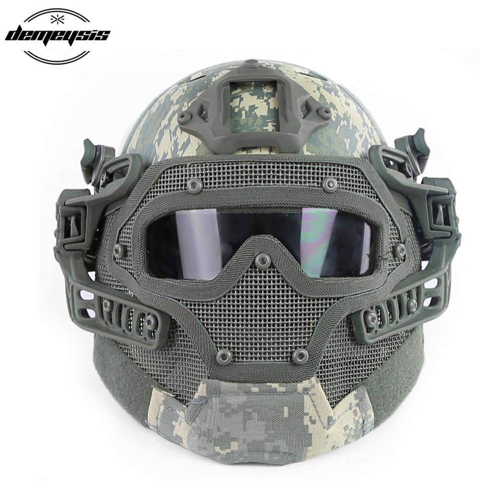купить Professional Tactical Helmet Outdoor CS War Game Helmet Full Face Hunting Mask Outdoor Sports Safety Men Motorcycle Helmet недорого