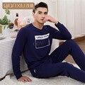 Qianxiu весна новые мужские пижамы хлопка с длинным рукавом брючные костюмы комфортно пижамы можно носить за пределами пары pijama homme
