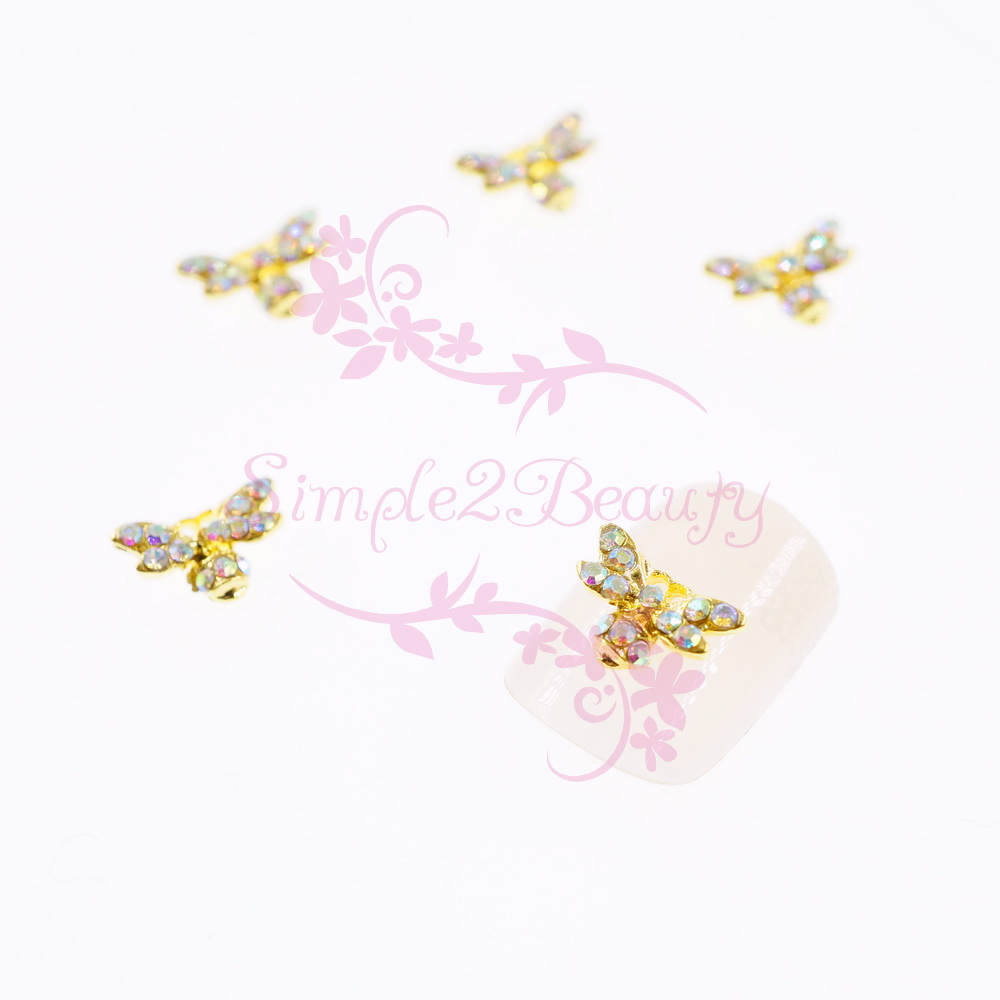 Steady 10pcs/pack Ab Crystal Rhinestones Gold Metal Bee Shape Japanese Style Summer Nail Art Alloy Charms Jewelry Crafts 3d Diy Decor Regular Tea Drinking Improves Your Health Rhinestones & Decorations