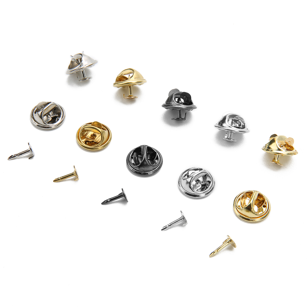 50pcs Gold Rhodium Color Copper Nail Tie Tack Lapel Pin Back Clutch Scatter Butterfly Clasp Squeeze Badge Holder DIY Jewelry