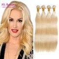 Необработанные Virgin Человеческих Волос Блондинка Меда Бразильские Волосы Переплетения Расслоения Tissage Bresilienne Бразильского Прямой Atki